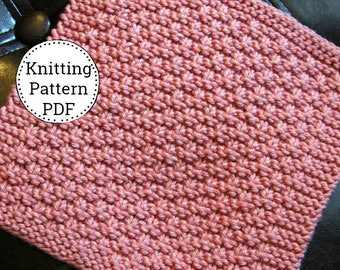 Knit Dishcloth Pattern, Dishcloth Pattern, Knitting Pattern, Dishtowel Pattern, Mini Basket Weavin'