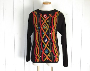 80s Sweater Kitty Hawk Vintage Funky Knit Vivian Wang Black Multicolored Cable Knit Pullover Small S