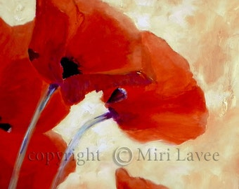 Poppy Painting, Red Poppy Original Oil Painting, Canvas Art Romantic Painting, Floral Art, Red Poppy Flower, Peaceful Art By Miri Lavee