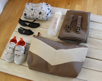Oatmeal linen chevron, choco brown nappy pouch set. nappy pouch, change mat and detachable clip on prams. Waterproof lining available