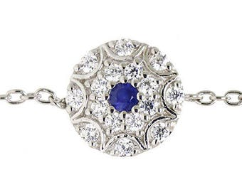 Silver Floral Disc Charm Bracelet with Sapphire