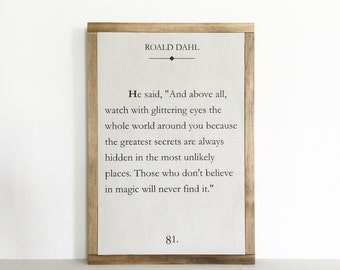 Book page sign, quote sign, literary quote, nursery decor, library decor, dahl, magic