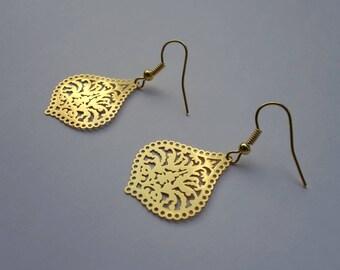 Gold Filigree Drop Earrings, Laser Cut Lattice Leaf Shape Charm Earrings, Gold Plated