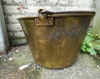 Vintage copper tub brass bucket aged patina Rustic storage planter pot pail w/ bail No. 15