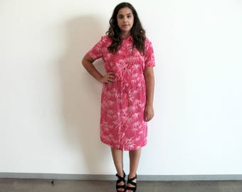pink tiki dress - 90s vintage Diane von Furstenberg silk shirt fuchsia hawaiian tropical bamboo print slouchy loose oversized button down