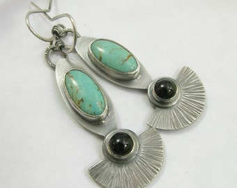 Black Onyx And Turquoise Earrings, Argentium Sterling Silver Artisan Earrings, Silversmith Jewelry, Metalsmith Earrings, Artisan Jewelry