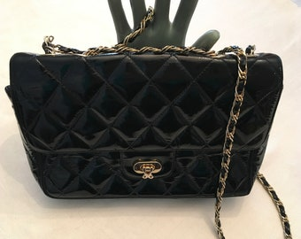 Jay herbert New York Quilted Black Patent Leather Bag