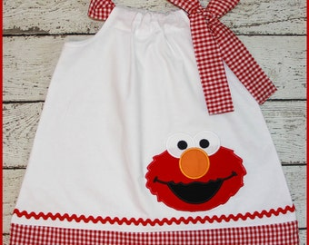 Super Cute Red Gingham Elmo Pillowcase style dress