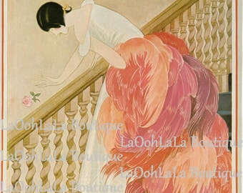 1924 Vogue Cover Digital Print Flamingo Feather Fashion Cottage Chic Pink Powder Room Decor Printable Couture Art Download Last Minute Gift
