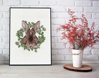 Floribus Coronatus Rabbit - 33x24 fine art print
