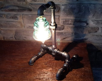 Industrial table light with glass insulator, steampunk light