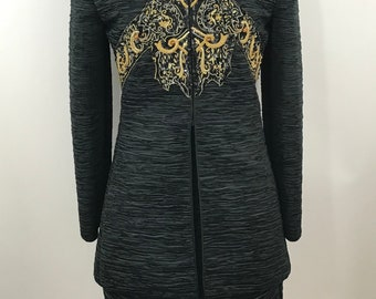 Vintage Mary McFadden Couture/Vintage 90s Mary Mc Fadden Embellished Skirt Suit/Fortuny Pleat Structured Skirt Suit