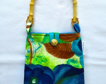 Evening Out Bag - Vintage Mod Watercolor Pansies - Turquoise, Navy, Chartreuse and Rust