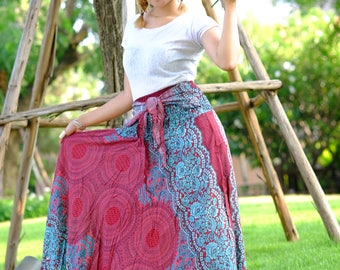 Long skirt Rose Skirt hippie Skirt Rose skirt Red