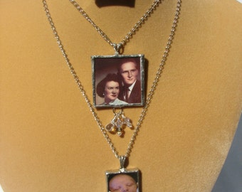 Personalized Custom Soldered Glass Photo Pendant Necklace with Crystal Charms (Small Size) SALE