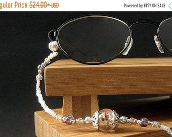 MOTHERS DAY SALE Beaded Lanyard. Pink Eyeglass Necklace. Id Lanyard. Silver Glasses Lanyard. Student Lanyard. Losing My Marbles Handmade Whi