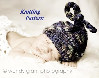 KNITTING PATTERN, Number 105 -- Newborn Top Knot Hat -- Great as a Photo Prop -- PERMISSION GRANTED TO SELL HATS