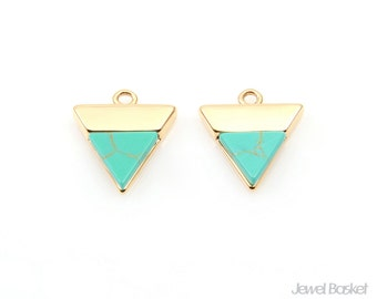 Triangle Turquoise Charm in Gold / turquoise / 16k gold plated / 12.5mm x 13.5mm / STQG109-P (2pcs)