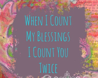 ART PRINT - Count Your Blessings Mixed Media Whimsical Art  A4 size Free local postage