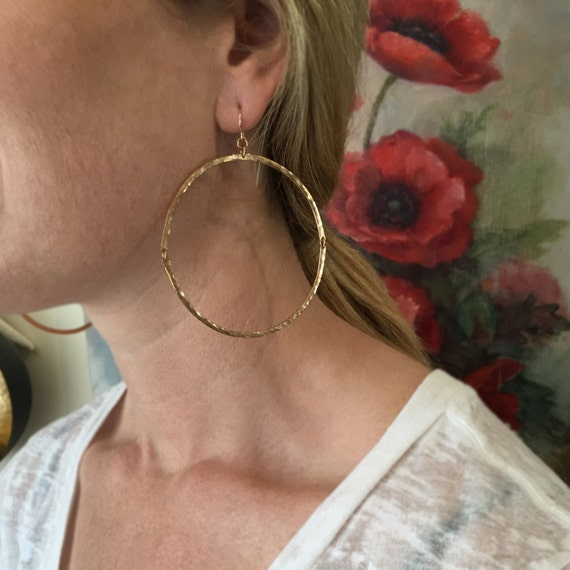Hinged Hoop Earrings in bronze and gold