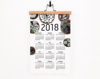 2018 wall poster calendar cactus succulent home office hanger holder