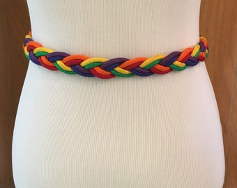 Vintage 70s 80s Braided Rainbow Rope Belt White Leather