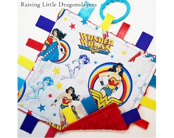 Wonder Woman - Ribbon tag blanket made w/ Wonder Woman print, infant sensory toy, baby blanket