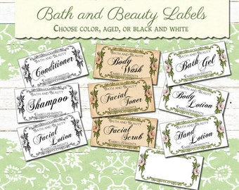 Vintage Beauty Bath Labels Instant Download, Printable Beauty Labels, Digital Bath Labels, Printable Beauty Stickers, Collage Sheet