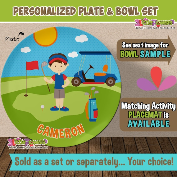 Golf Plate and Bowl Set - Personalized Plastic Children Plate Cereal Bowl - Choose HAIR SKIN color - Player Plate Set - Golf Sports Party  sc 1 st  Etsy & Golf Plate and Bowl Set Personalized Plastic Children Plate