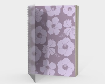Hawaiian Flowers Spiral Notebook in Lilac and Mauve with drawing paper or sketch paper blank, ruled, graph or bullet journal metal coil