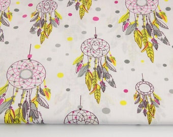 Dream catcher, 100% cotton fabric printed 50 x 160 cm, dream catchers pink, yellow, gray on white background
