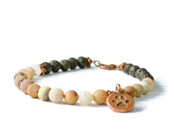 Aromatherapy Diffuser Charm Bracelet, Frosted Agate & Lava Stone