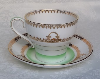 Antique Bell China Tea Cup & Saucer, Golden Lace and Pale Green Tea Cup, English Fine Bone Bell China Tea Set, England