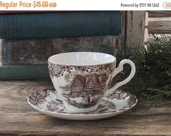 ON SALE Johnson Brothers Heritage Hall Brown Multicolor Flat Tea Cup Set Colonial Overhang Replacement China