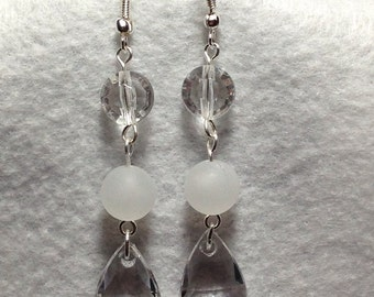 Frosted White and Silver Clear Crystal Dangle Earrings