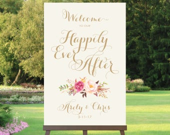 Welcome to our Happily Ever After Sign | Various Sizes | Add Your Names | Bouquet Options | Vintage | Antique Gold | I Create and You Print