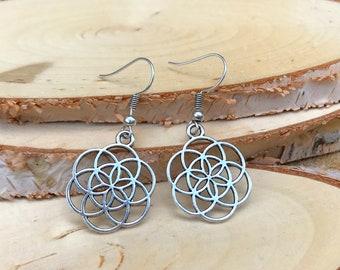 Earrings Silver Flower of Life Earring