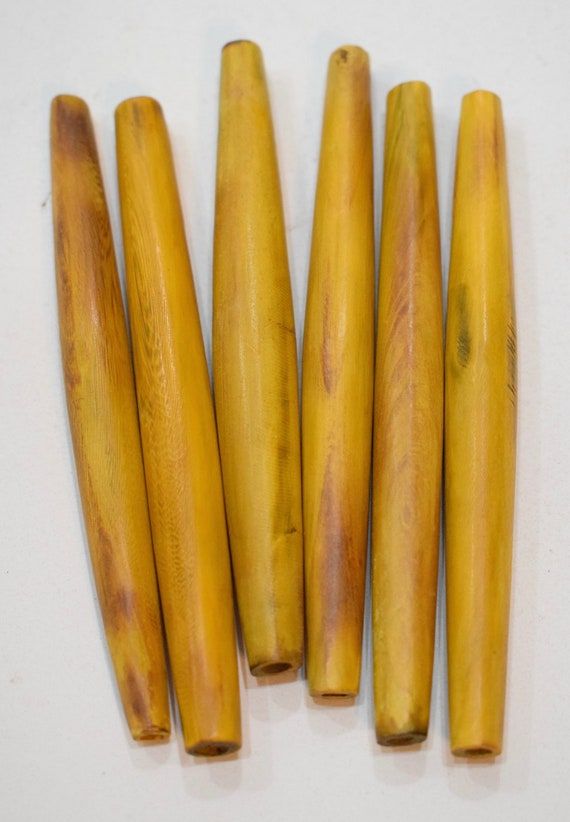"Beads Indonesian Bamboo Yellow Pipe Tubes Vintage 4.5"" - 5"""