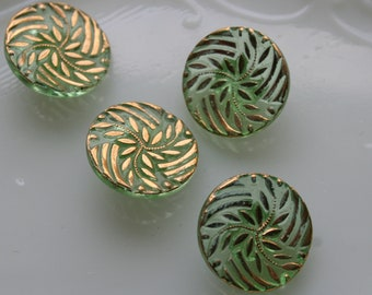 Set of 4 Vintage Transparent Clear Green Buttons with Gold Trim #218