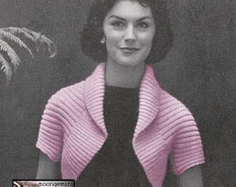 Knit Shrug Simple Bolero PDF Instant Download Vintage Knitting Pattern