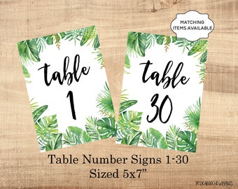 Table Number Signs Printable 5x7 Wedding Table Marker 1-30 Banquet Party Dinner Luncheon Benefit Table Tropical Greenery PCTGWS PCFPS