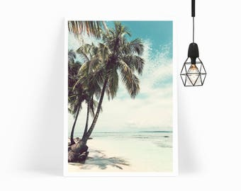 Palm Trees on Beach Print, Tropical Printable, Modern Wall Art, Instant Download, Palm Trees Digital Print