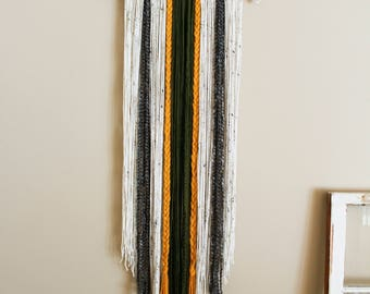 Handcrafted Yarn Wall Hanging \\ Army Green, Yellow, Cream, + Grey \\ Tapestry Wall Decor \\ Home Decor
