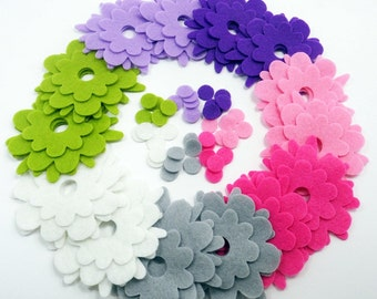 Felt flower Shapes FRESA, 84 pieces, Die Cut Shapes, Applique, Confetti, Party Supply, DIY Wedding