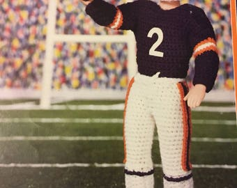 """Football Player Outfit Crochet  Pattern for 16"""" Male Fashion Doll"""