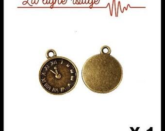 Watch pendant Antique Bronze 16 x 13 mm, time clock