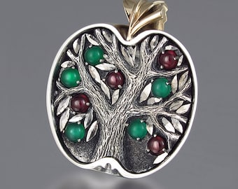 APPLE TREE silver and bronze pendant with Green Onyxes & Rhodolite Garnets - Tree of Life necklace - Ready to Ship