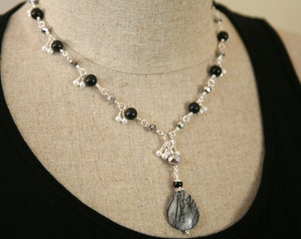 Black and White Necklace. Dangling Pearl Onyx and Jasper. Pendant Necklace. Dressy Jewelry.Formal Necklace
