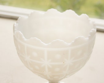 Starburst Milk Glass Pedestal Bowl