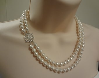 Wedding Necklace Bridal Pearl Necklace, Vintage Style Necklace, 2 strand Necklace,  Rhinestone and Pearl Necklace. Marie, PN005